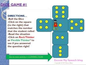 Play this game!  Social Skills activity related to rigid vs. flexible thinking - help students understand the difference and problem solve their rigidity