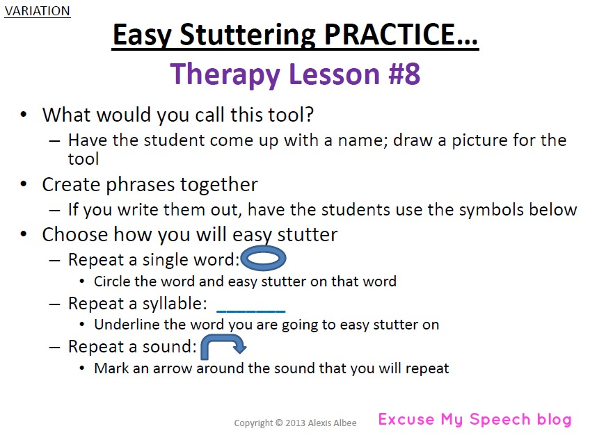 speech therapy homework for stuttering