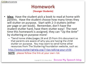Stuttering therapy homework