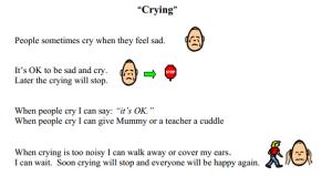 crying social story
