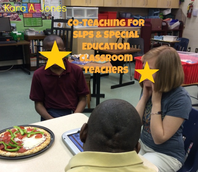 Co-Teaching (SLPs and Special Education Classroom Teachers) Students learning to make pizza (along with using AAC) during a co-taught lesson