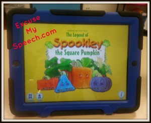 Speech Therapy and Spookley the Square Pumpkin on the IPAD