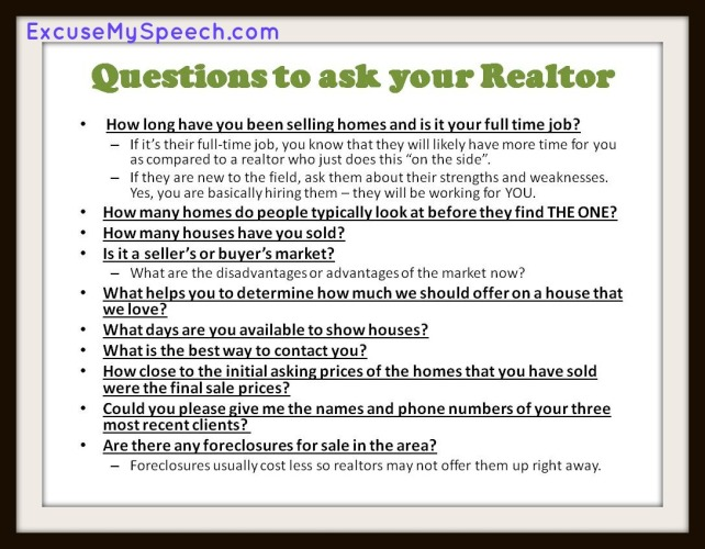 Looking for a realtor?  Here are some questions that you should ask