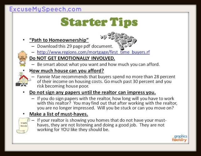 Starter tips for buying a home